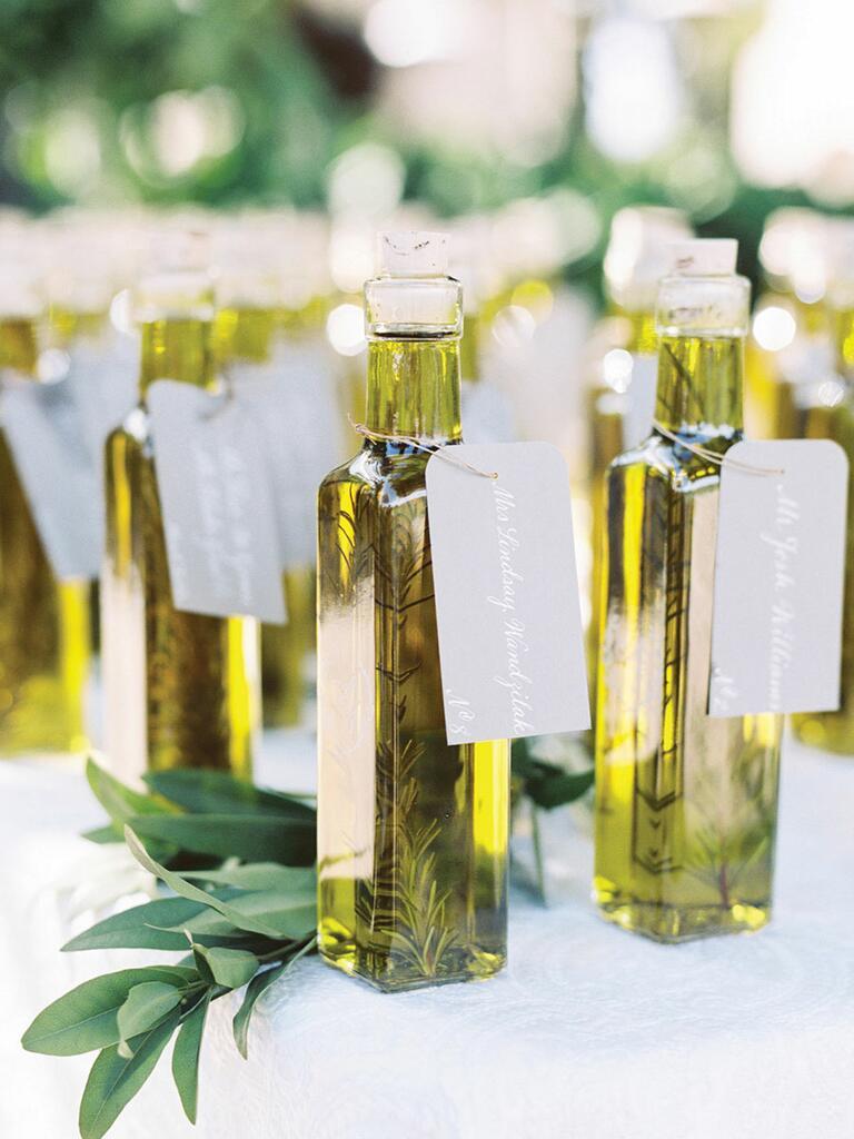 Olive oil escort card idea for a creative wedding idea