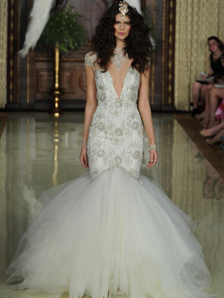 Galia Lahav mermaid style deep v-neck hand embroidered wedding dress from Spring 2016