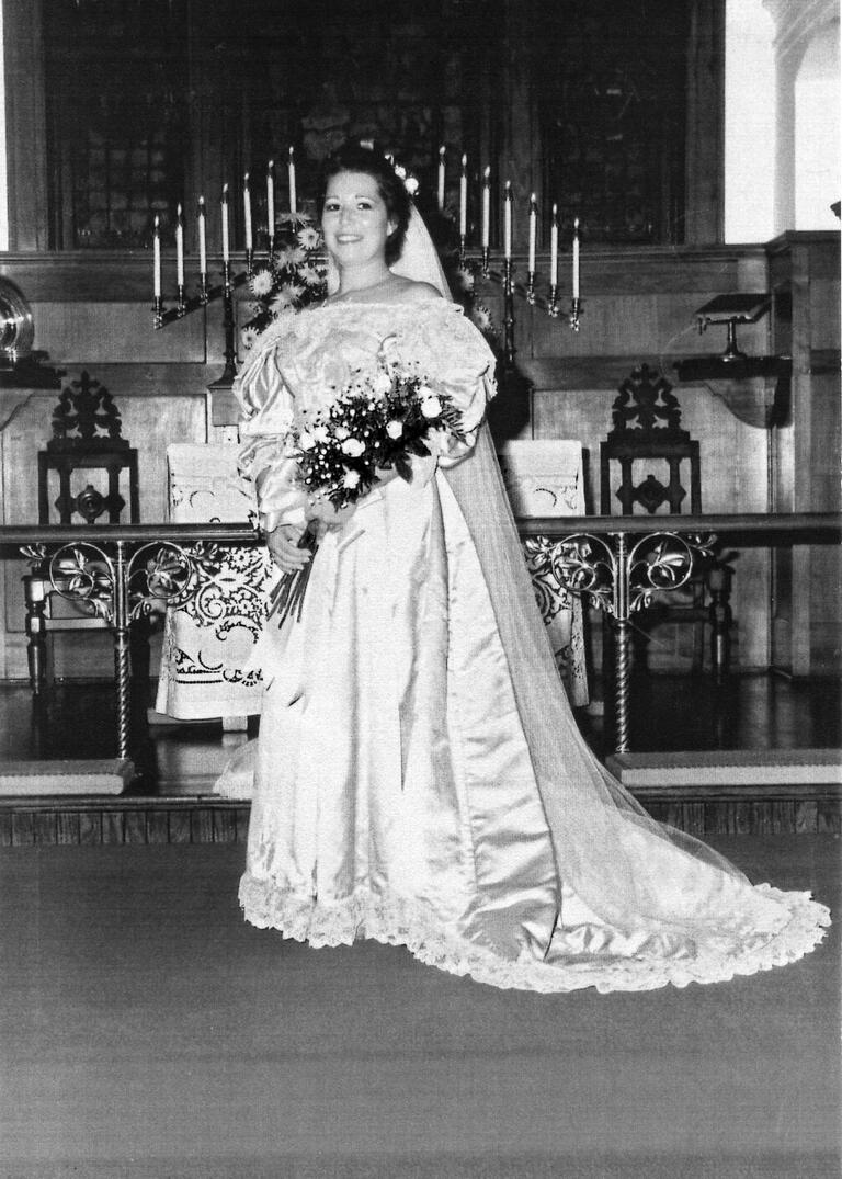 Virginia Kearns Stinnett wedding dress from 1989