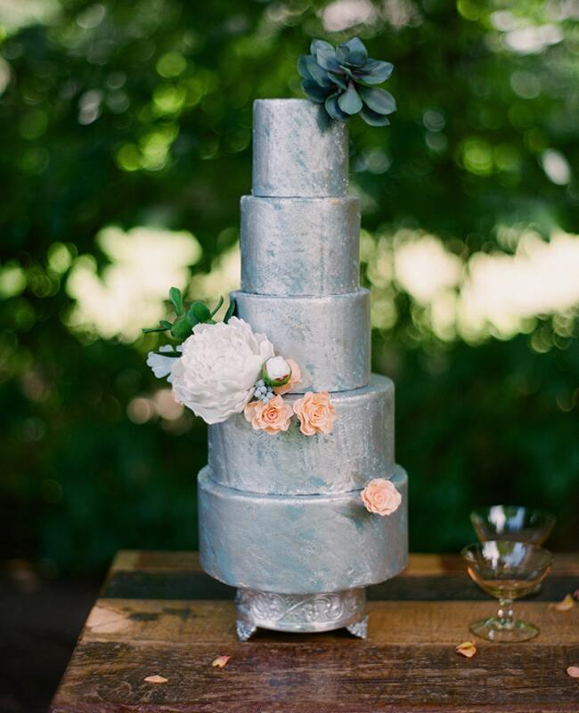 Metallic Cakes //  The Knot Blog