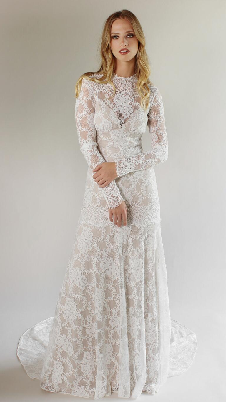 Claire Pettibone Spring 2017 long sleeve floral lace wedding dress with high neckline, and cut out open lace back and chapel train