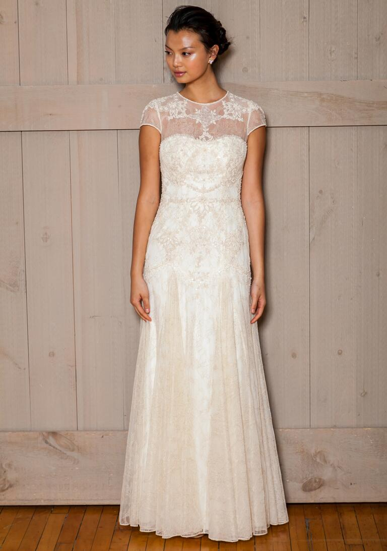 David's Bridal Fall 2016 mesh cap sleeve wedding dress with beading