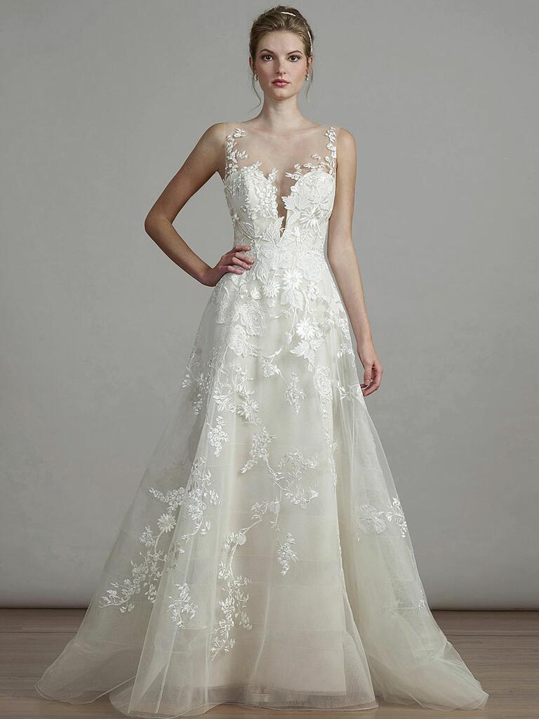 Liancarlo Spring 2018 A-line wedding dress with floral appliqué illusion neckline