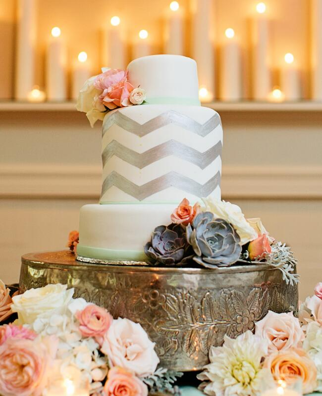 Silver Chevron Cake |<img class=