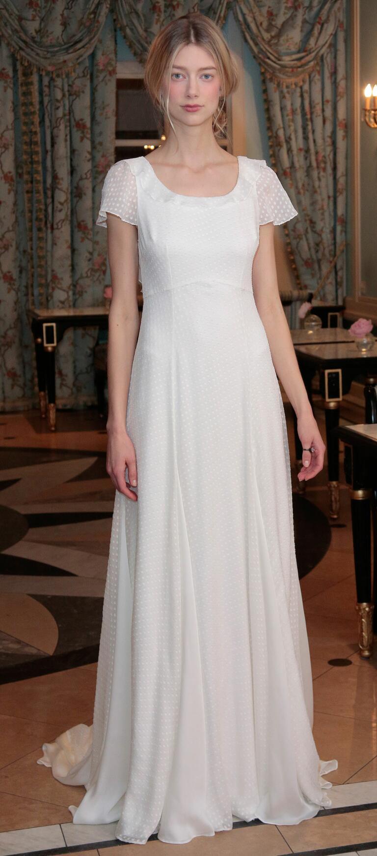 Delphine Manivet Spring 2017 sheer cap sleeve dotted sheath dress