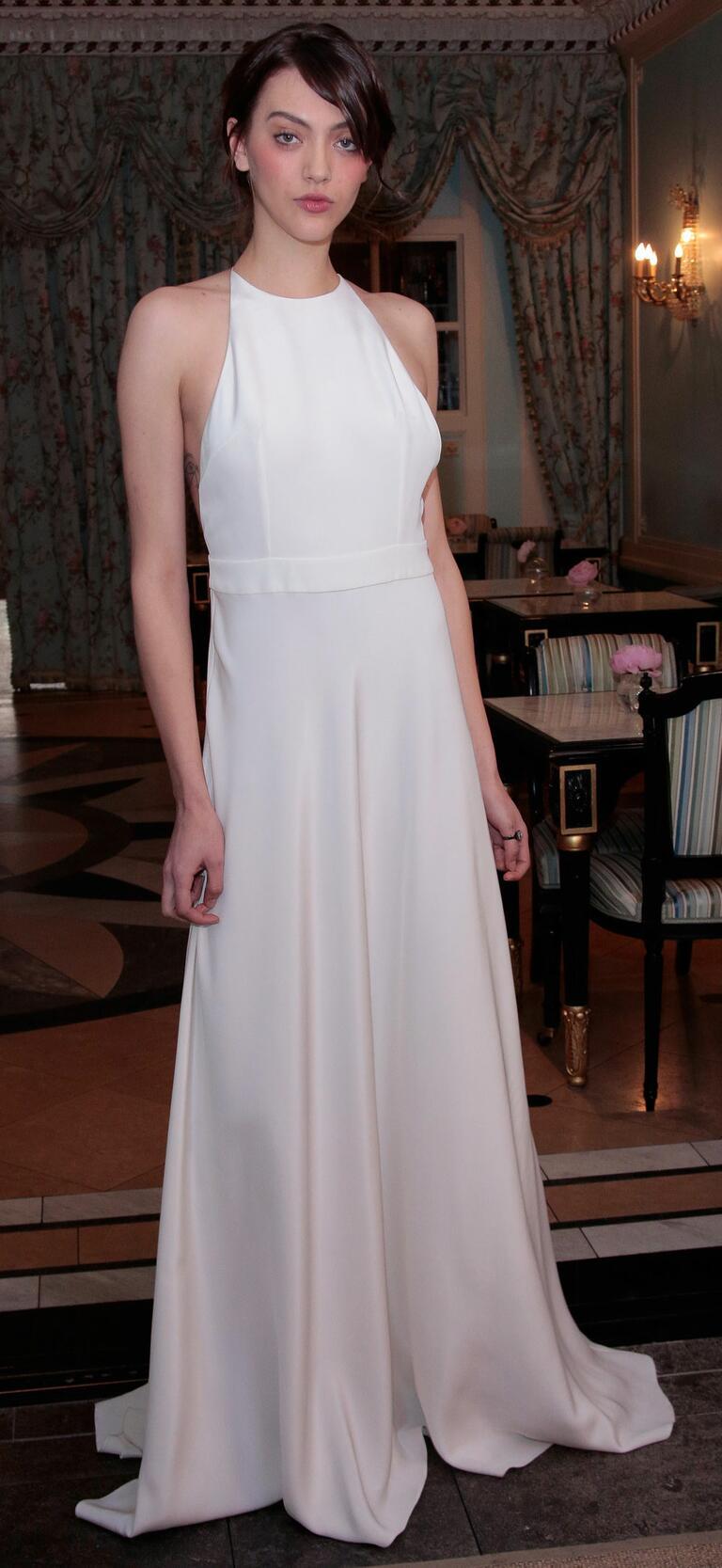 Delphine Manivet Spring 2017 simple satin sheath wedding dress with halter neckline and natural waist belt