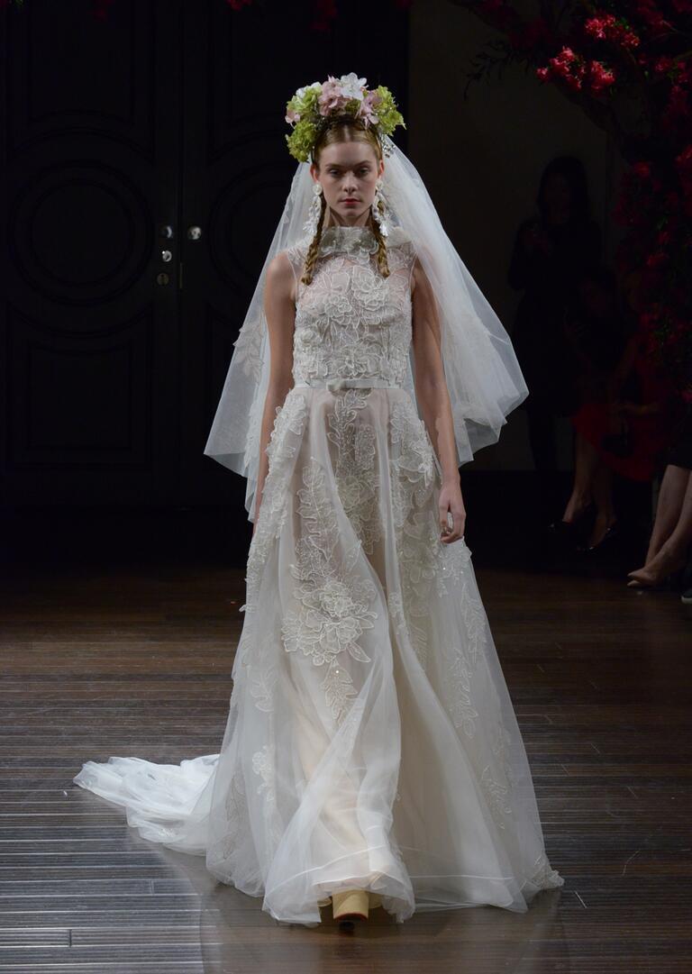 Naeem Khan Fall 2016 a-line sleeveless wedding dress with floral appliqués and high collar