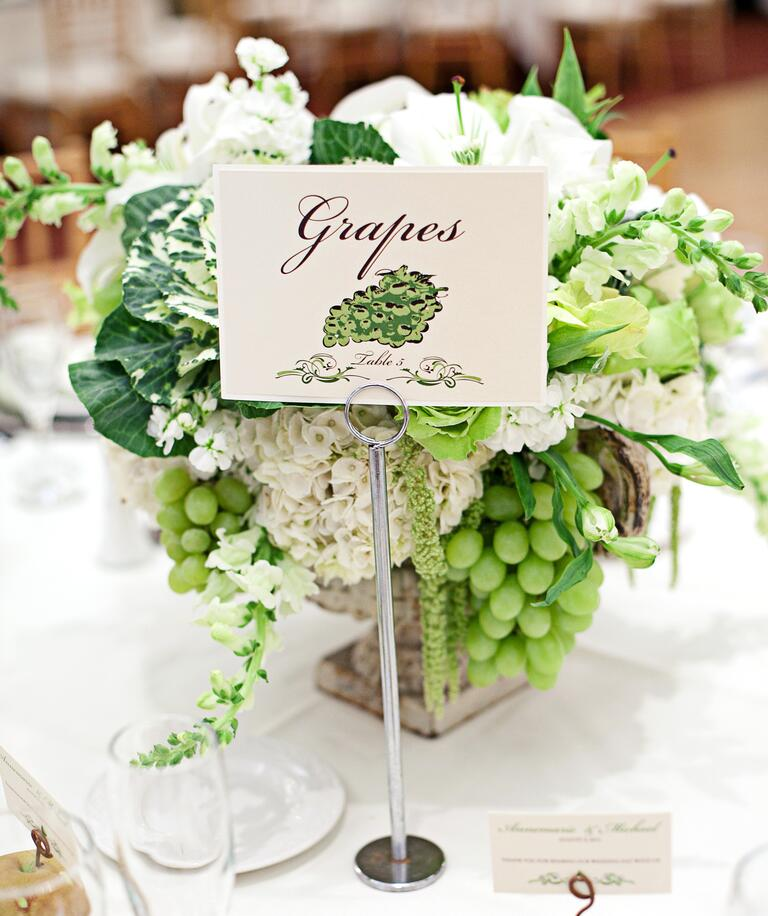 White grape centerpiece with kale