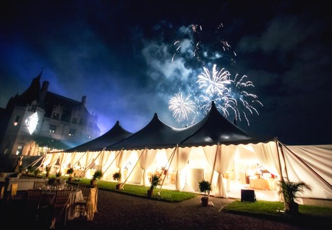 Reception Tent & Fireworks // Photo: Jeremie Barlow