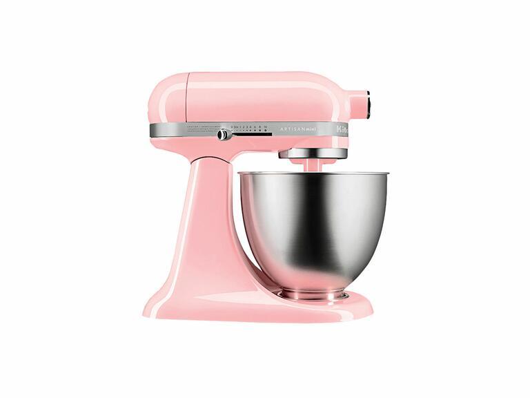 Artisan mini stand mixer in light pink