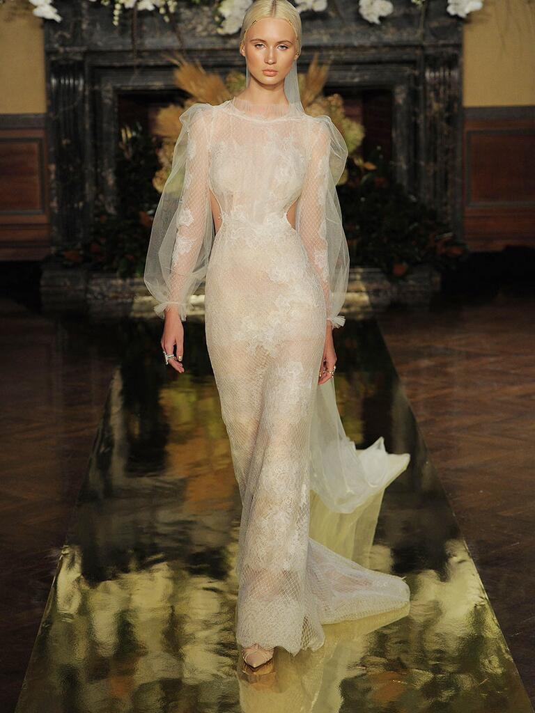 Yolancris Long Sleeve Wedding Dress : Yolan cris fall long sleeve lace wedding dress with side panle