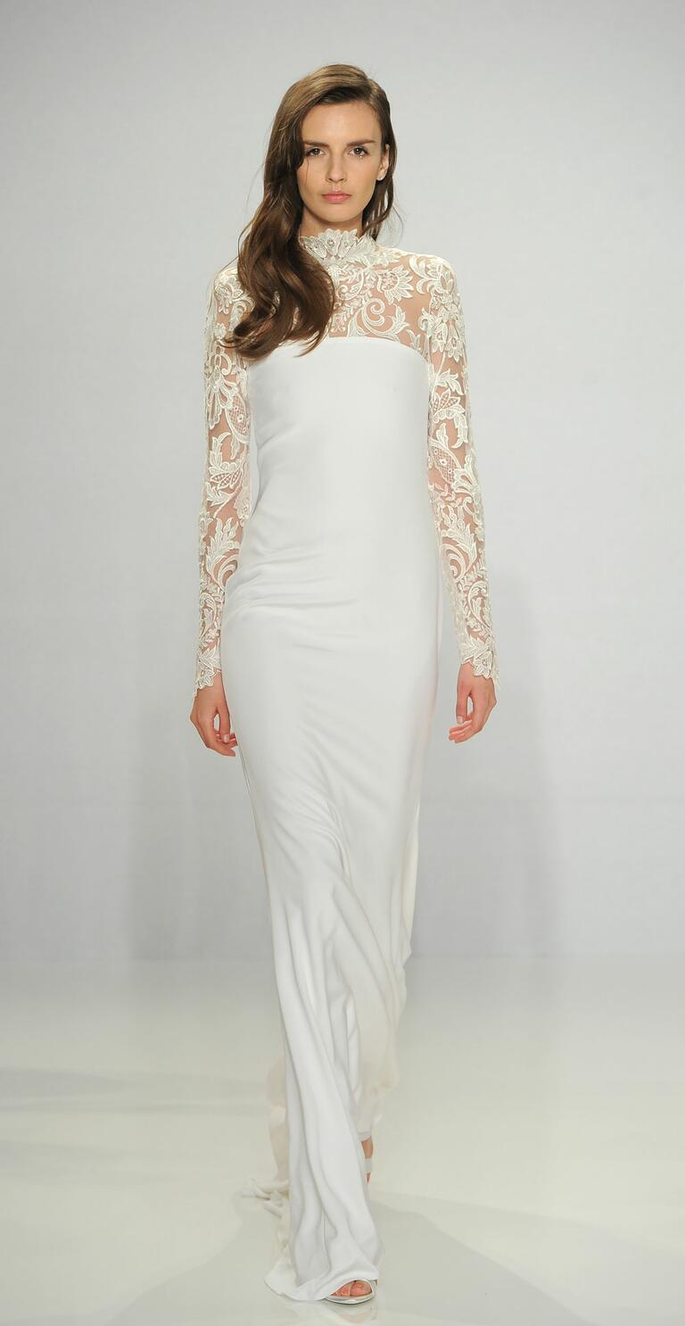 Christian Siriano Spring 2017 long sleeve lace column wedding dress