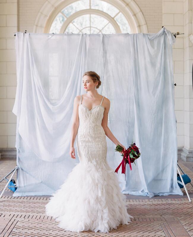 Lazaro feathery wedding gown | Corbin Gurkin | blog.theknot.com