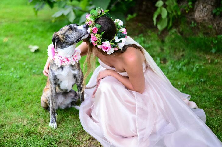 Dog's floral collar matches bridesmaid's flower crown