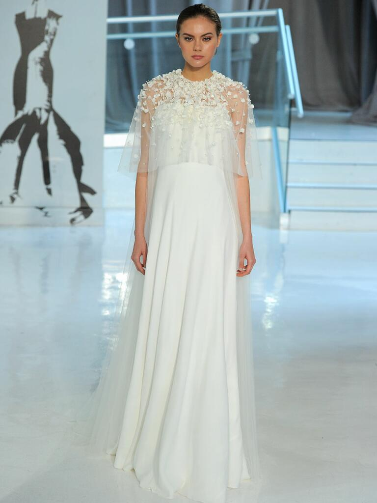 Peter Langner Spring 2018 empire-waisted wedding dress with sheer floral bodice overlay