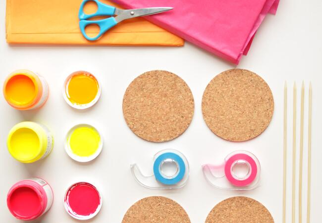 DIY Neon Coasters and Cocktail Stirrers| Sarah Love | blog.theknot.com