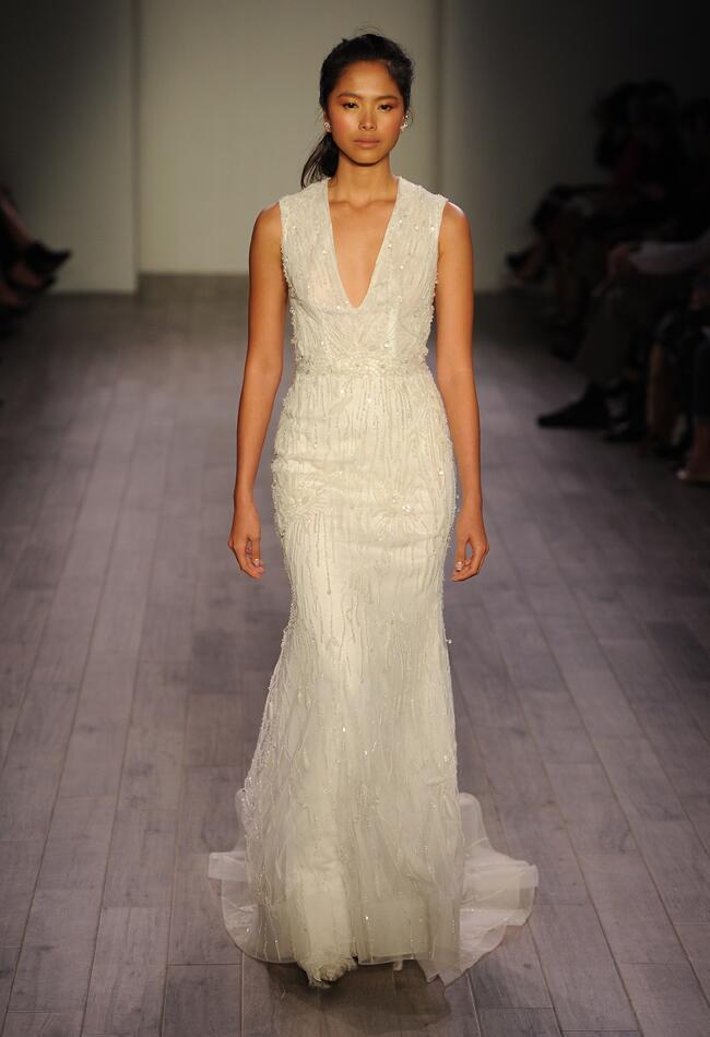 Lazaro Spring 2016 V-neckline modified A-line beaded wedding dress