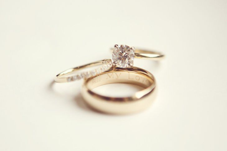 Yellow Gold Engagement Ring And Wedding Bands