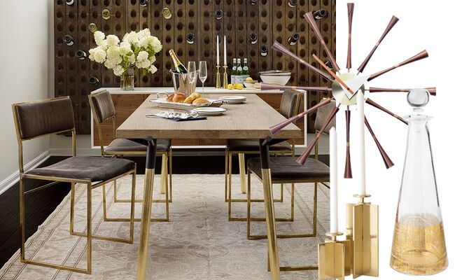 Gold Mid-Century Modern Thanksgiving Dining Room