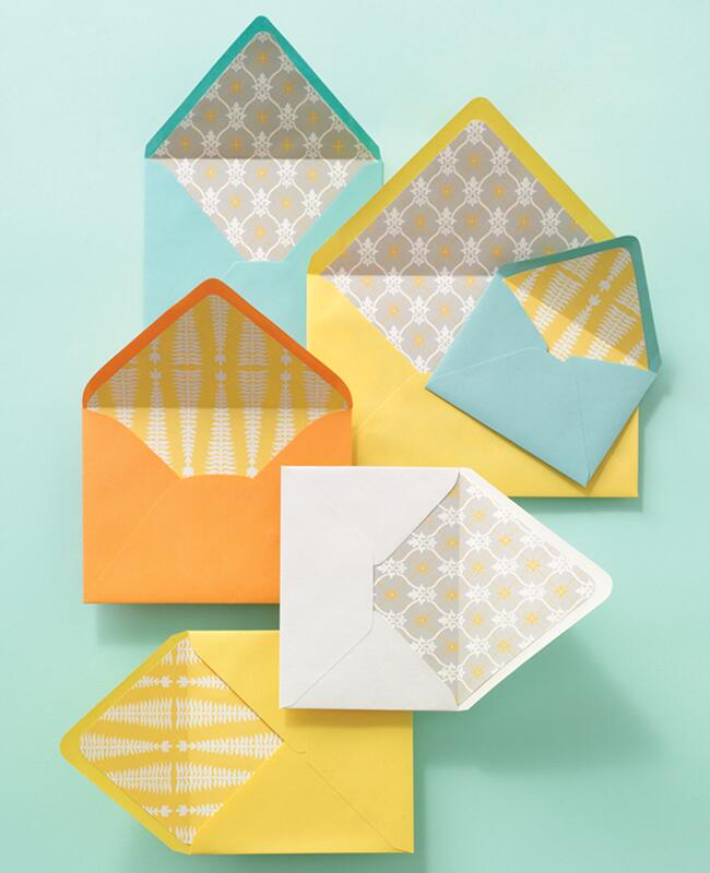 DIY envelope liners: Yunhee Kim / TheKnot.com