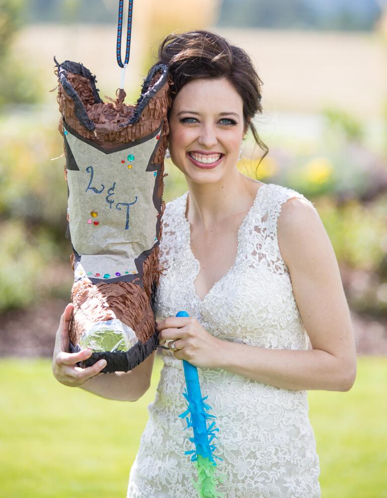 Bride and cowboy boot pinata