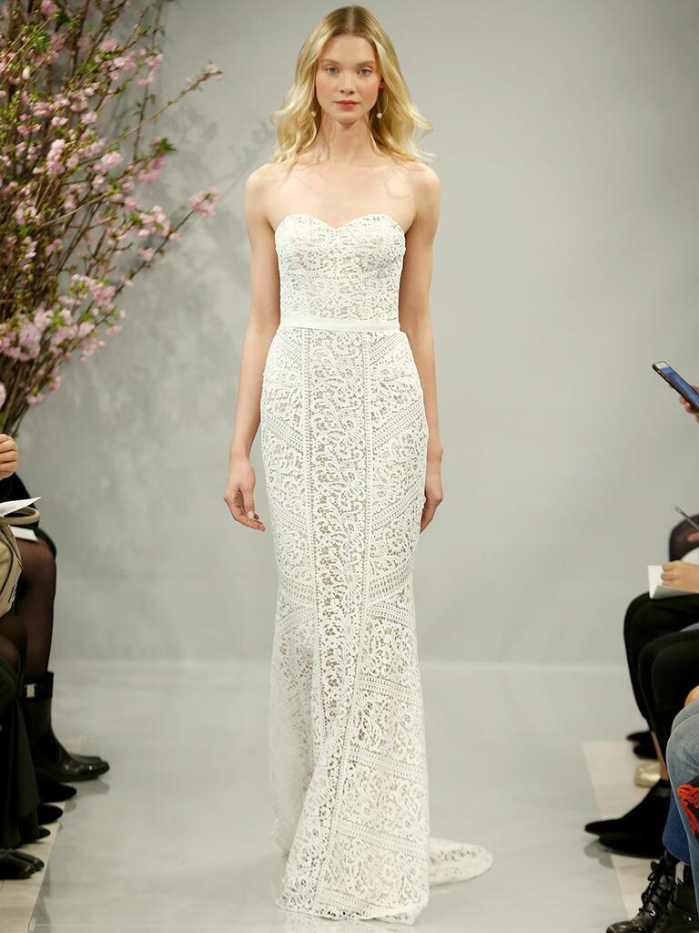 Theia Spring 2018 ivory strapless patchwork cotton guipure lace wedding dress over nude lining