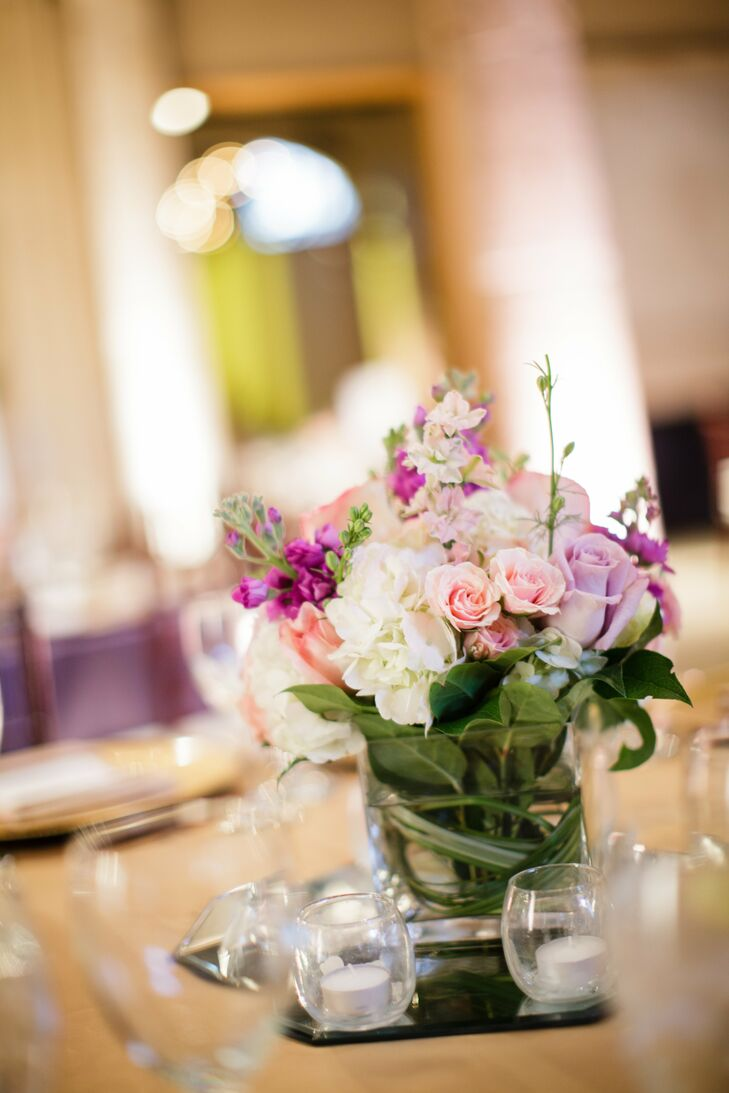 Small pastel rose centerpieces