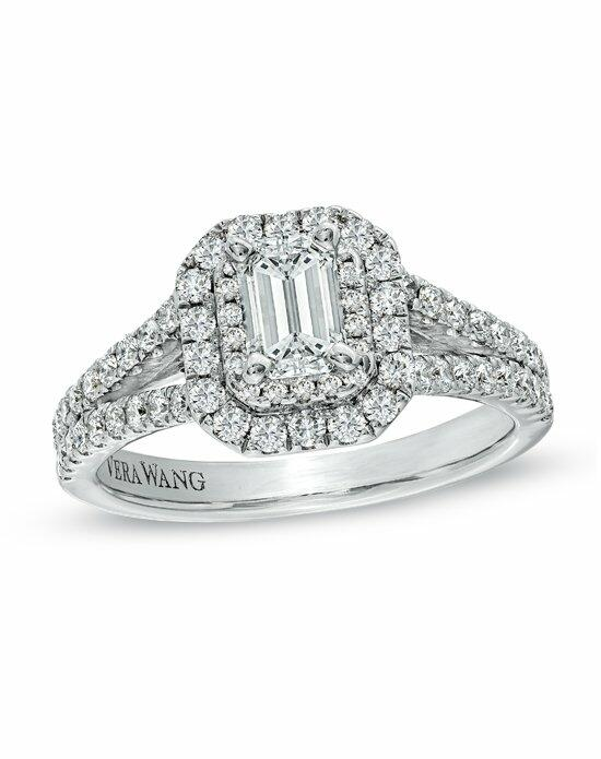 Vera Wang LOVE at Zales Vera Wang LOVE Collection - 1 1/3 CT. T.W. Emerald-Cut Diamond  Frame Split Shank Engagement Ring in 14K White Gold  19969708 Engagement Ring photo