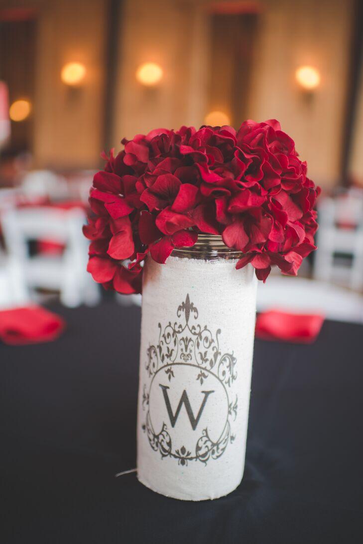 Red Hydrangea, Custom Burlap Centerpieces