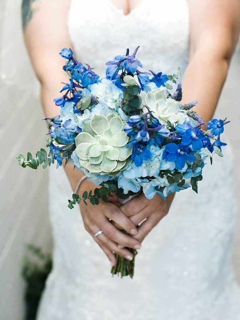 The best blue wedding flowers and 16 gorgeous blue bouquets blue wedding bouquet with delphiniums and hydrangea junglespirit Images