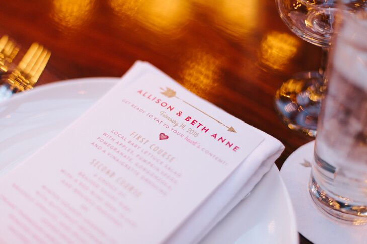 Dinner menus gave a subtle nod to the day's Valentine's Day motif.