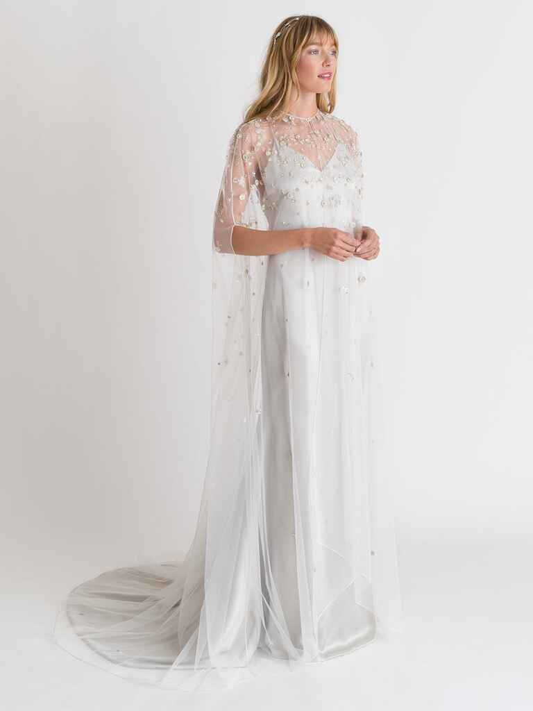 Alexandra Grecco Spring/Summer 2018 simple satin spaghetti strap wedding dress with beaded floral overlay