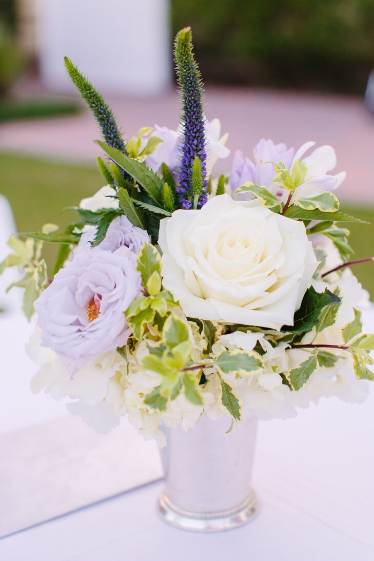 Lilac White Floral Cocktail Table Centerpiece