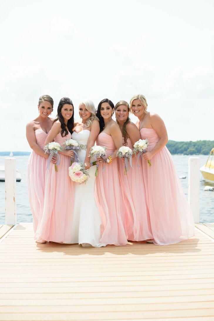 Strapless Pink Donna Morgan Bridesmaid Dresses