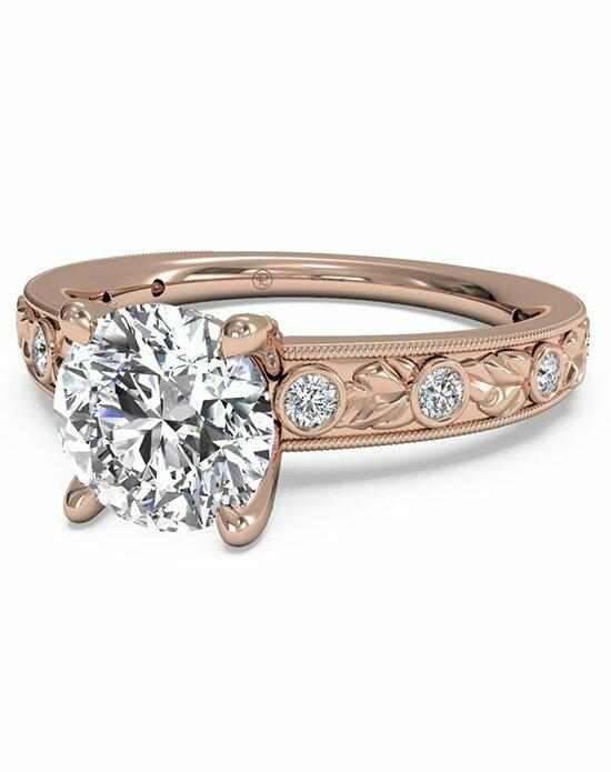 Ritani Round Cut Grecian Leaf Diamond Band Engagement Ring with Surprise Diamonds in 18kt Rose Gold (0.14 CTW) Engagement Ring photo