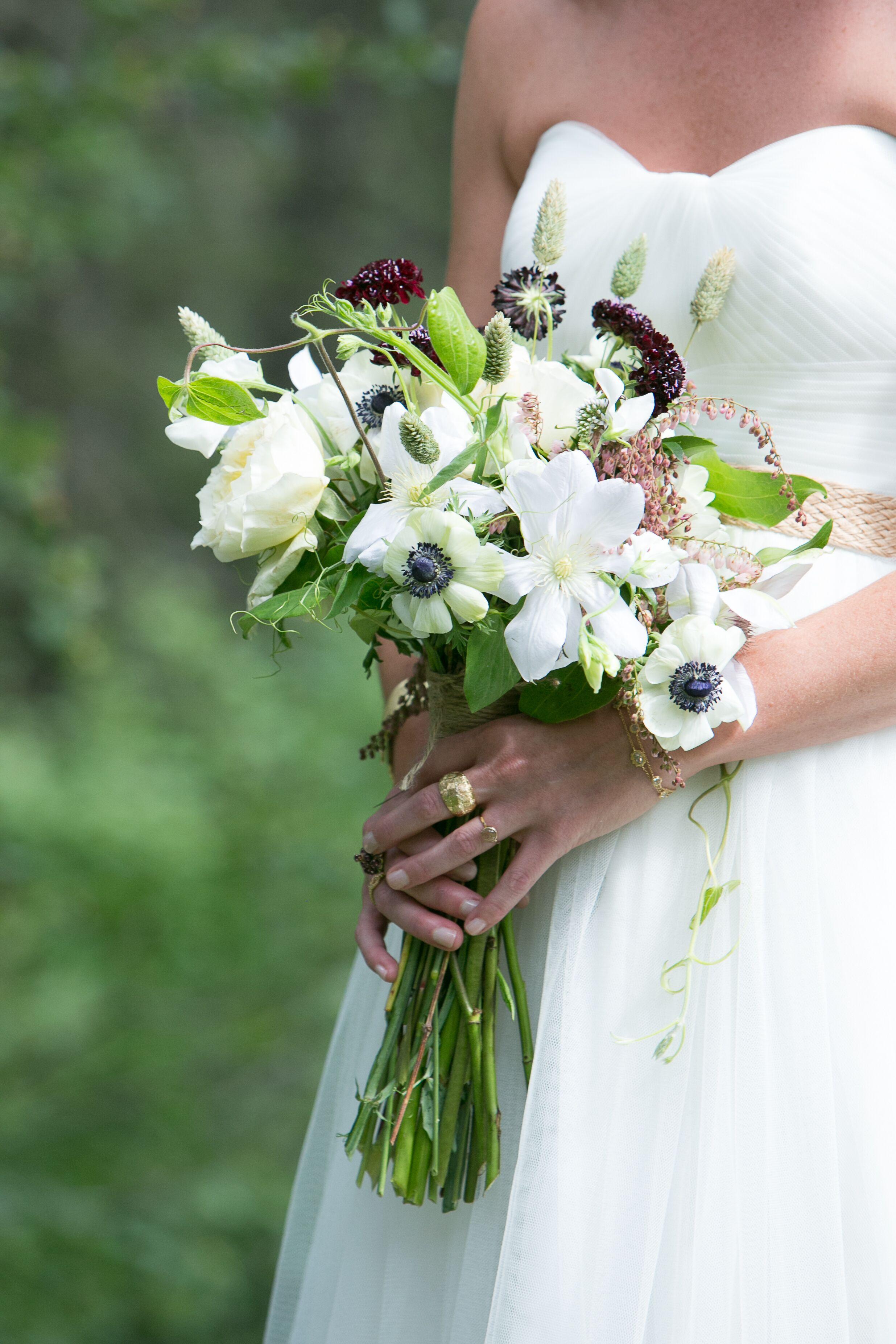 White And Burgundy Wildflower Bridal Bouquet