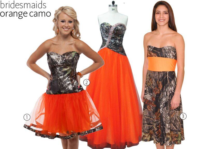 3 Orange Camo Bridesmaid Dresses