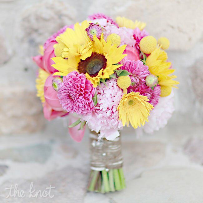 Sunflower And Pink Rose Bouquet Sunflower Bridal Bouqu...