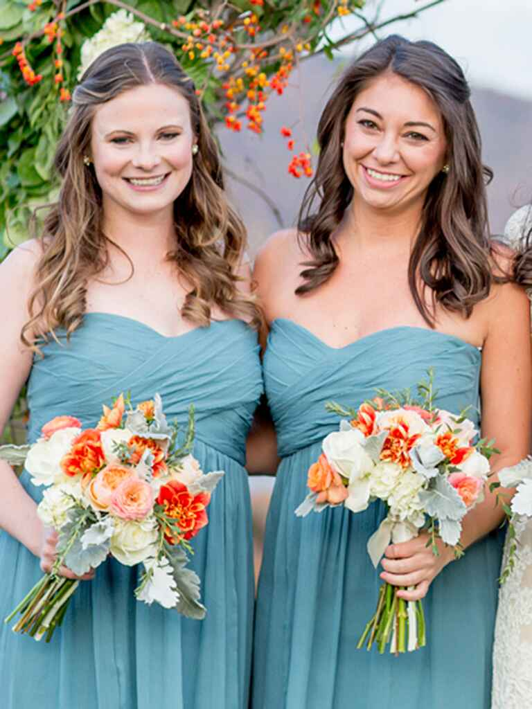 Simple bridesmaid hairstyles for a strapless dress neckline