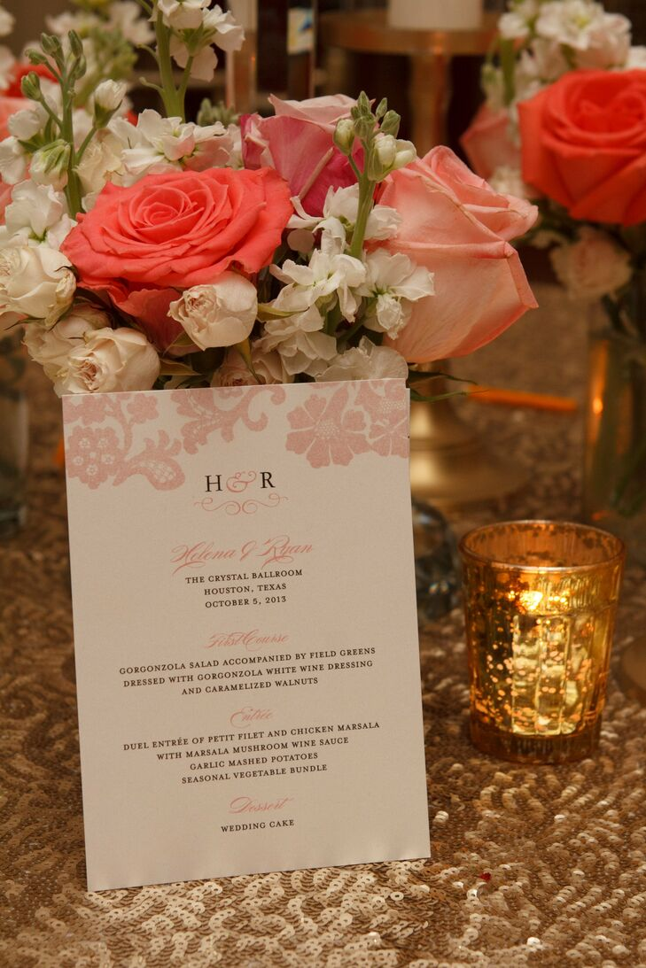 Pink Accented Menu Cards