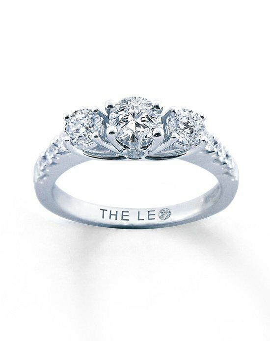 Leo Schachter Diamond 3 Stone Ring 1ctw Round 14K White Gold Engagement Ring photo