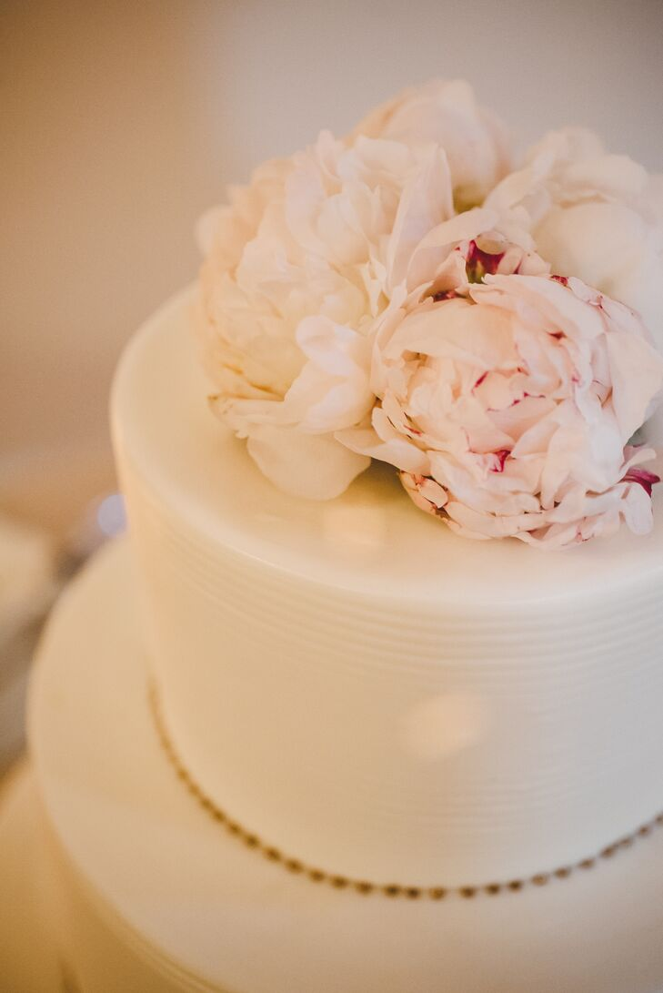 Blush, White Peony Wedding Cake Topper