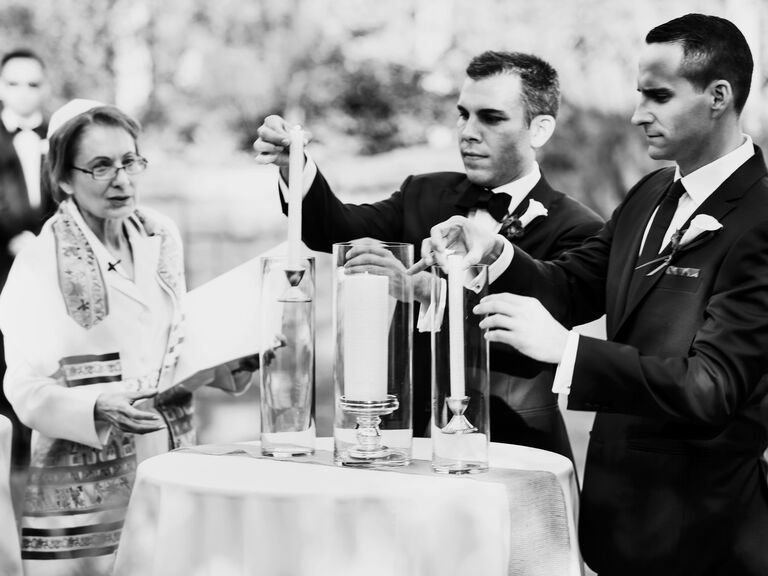 Grooms lighting the ceremonial unity candle  sc 1 st  The Knot & When Do You Light the Unity Candle? azcodes.com
