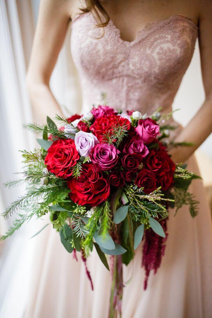 elaborate gardenstyle red peony bouquet