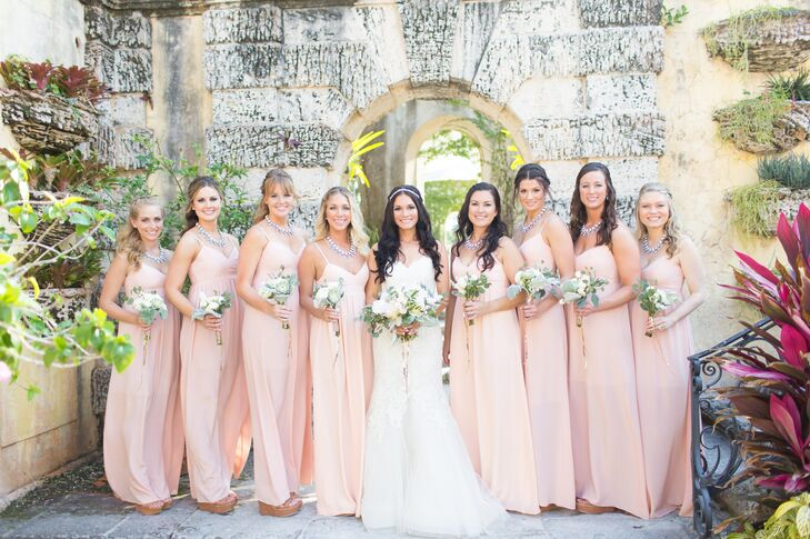 Stunning Wedding Dresses In Beige And Blush: Blush Bridesmaid Dresses And Statement Necklaces
