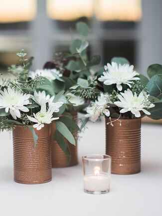 Create lush flower arrangements with a few fresh flowers and a lot of greenery