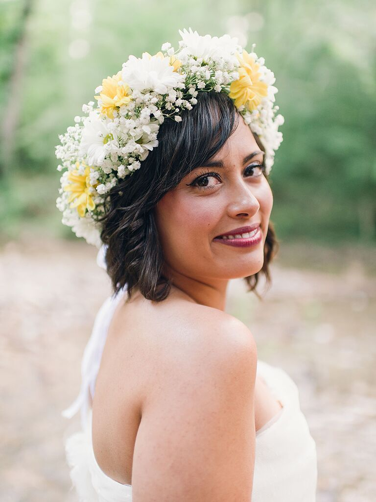 31 stunning wedding hairstyles for short hair short wedding hairstyle with a white and yellow flower crown junglespirit Images