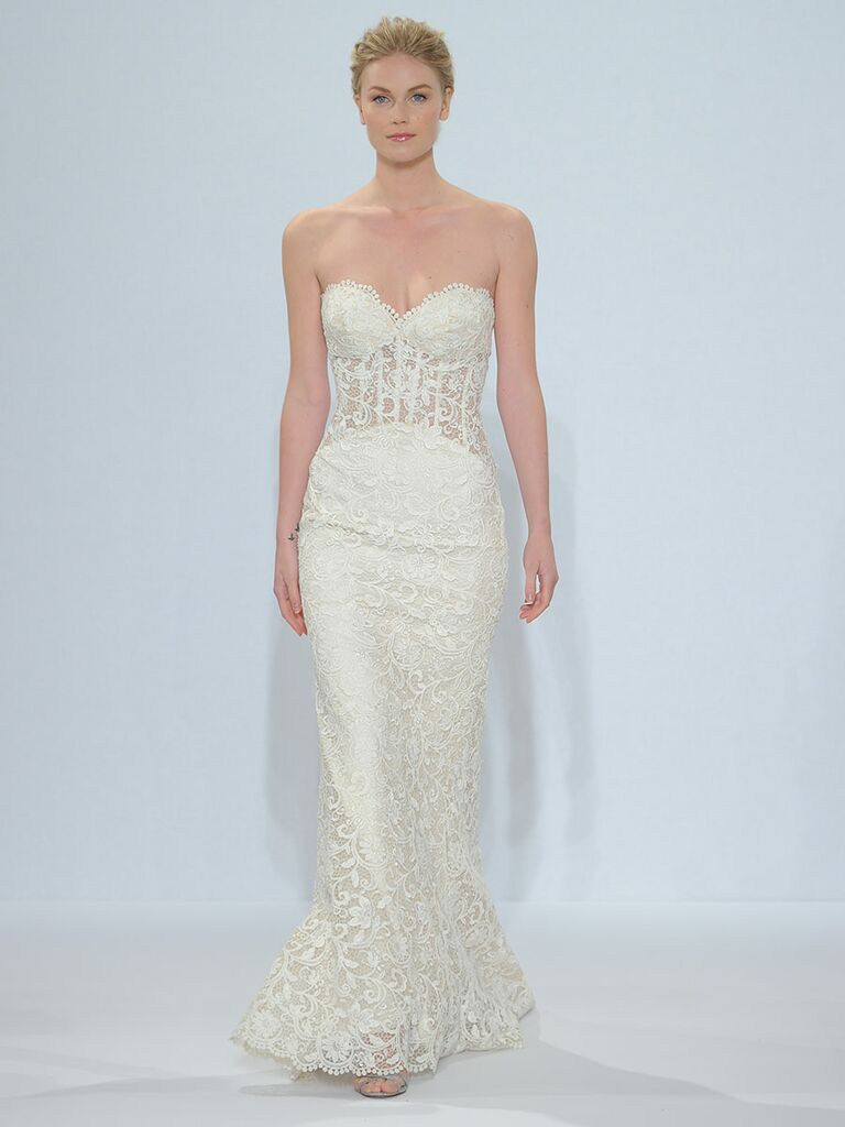 Randy fenoli spring 2018 collection bridal fashion week photos randy fenoli spring 2018 strapless sweetheart slim wedding dress of venice lace with sheer midriff and ombrellifo Choice Image