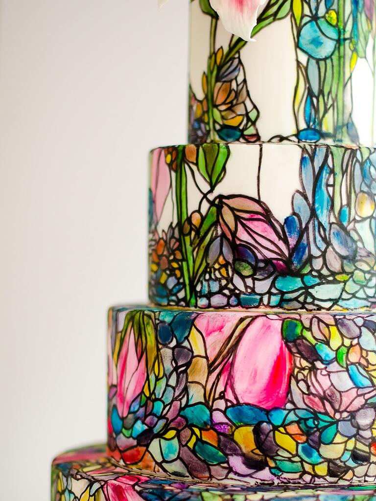 Stained glass artwork on a wedding cake