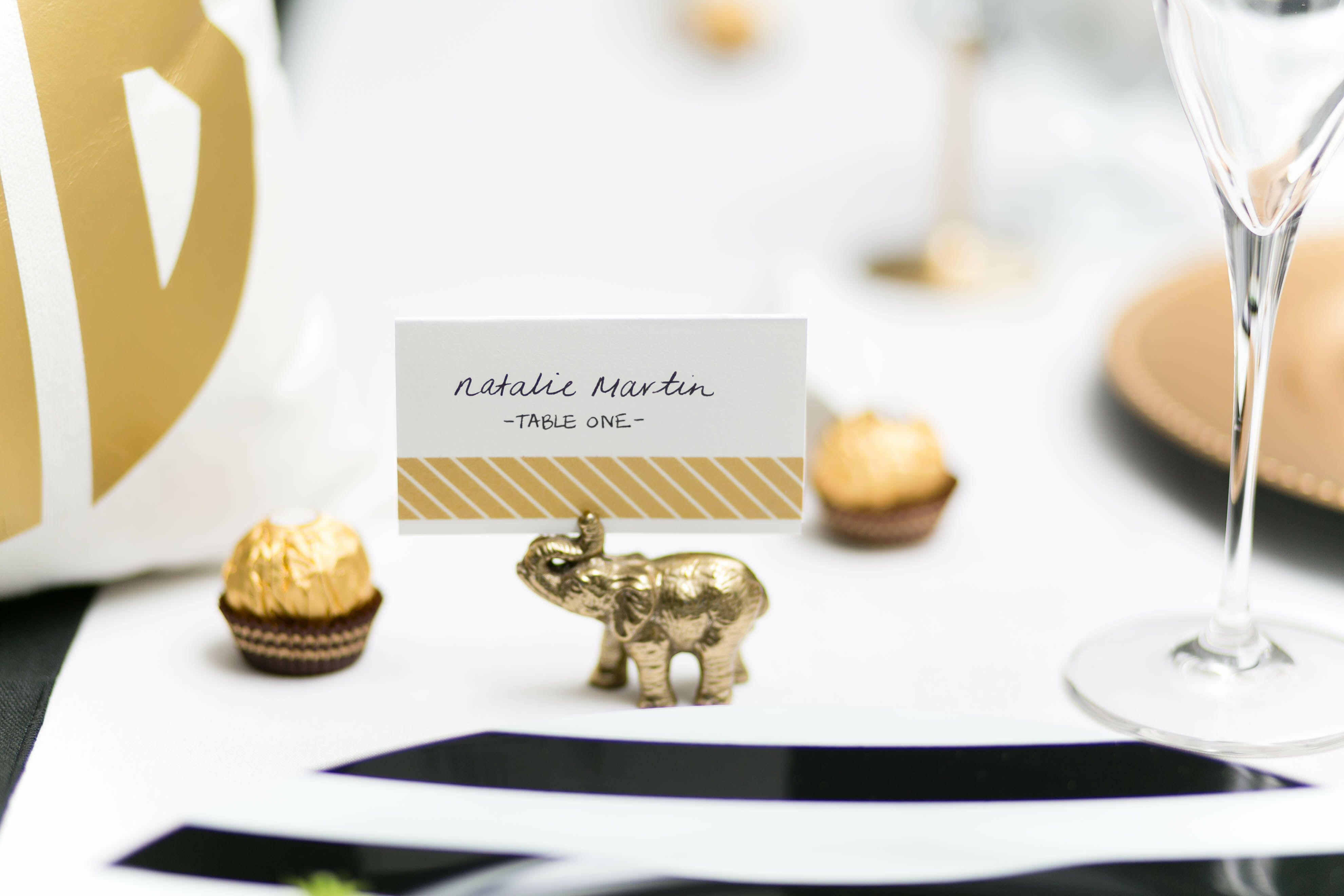 Gold Accents on Black-and-White-Striped Table